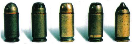 9-мм патроны разных типов.